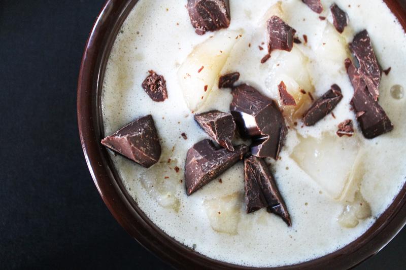 crème-végétale-poires-chocolat-psyllium, Crème végétale poire et chocolat